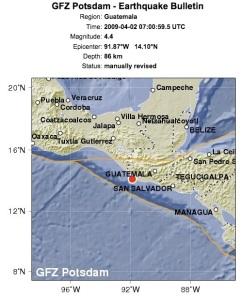 Temblor en Guatemala 4 de abril 2009 Sismo de 4.4.