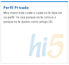 Mensaje de perfil privado de hi5